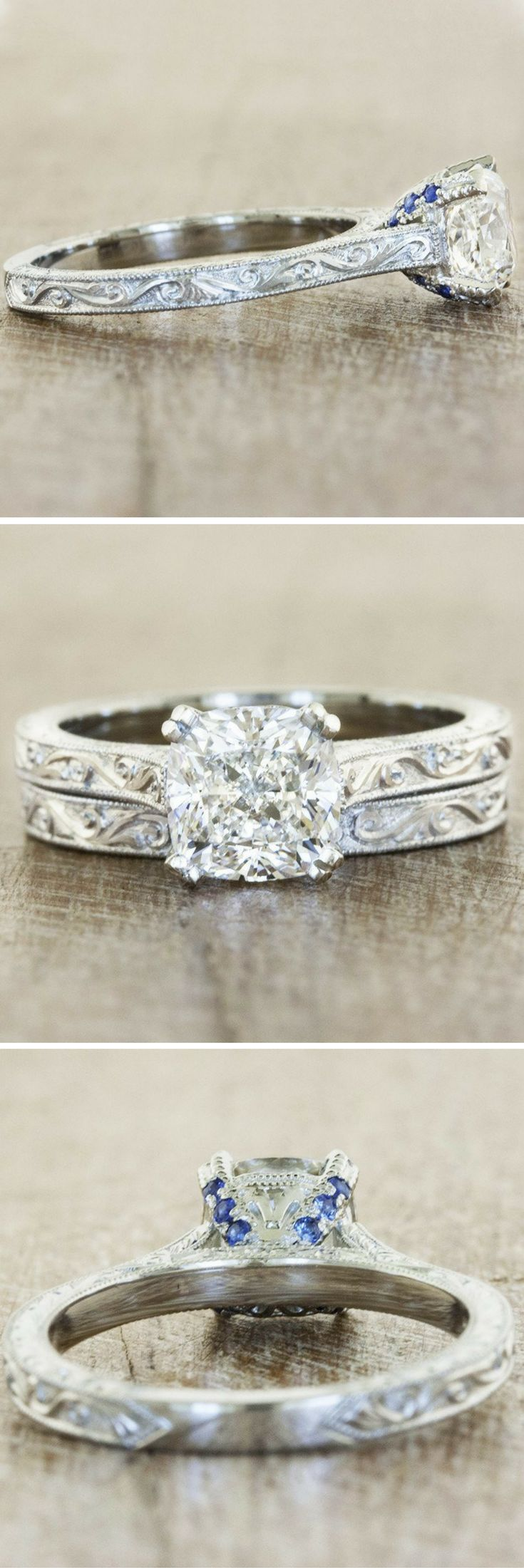 The Rayna is a hand engraved vintage-inspired solitaire engagement ring with a 1.5 ct cushion cut diamond, by Ken & Dana Design.