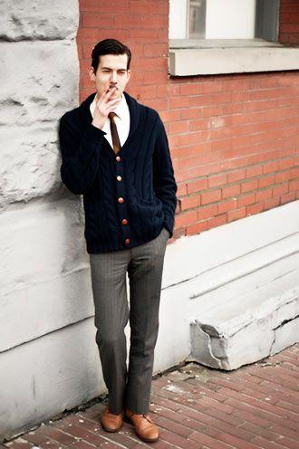 カーディガンでカレッジコーデ メンズ秋冬ファッション<スラックス>