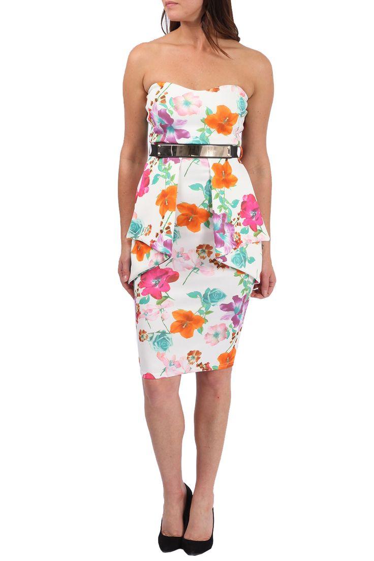 floral peplum midi στράπλες φόρεμα patricia