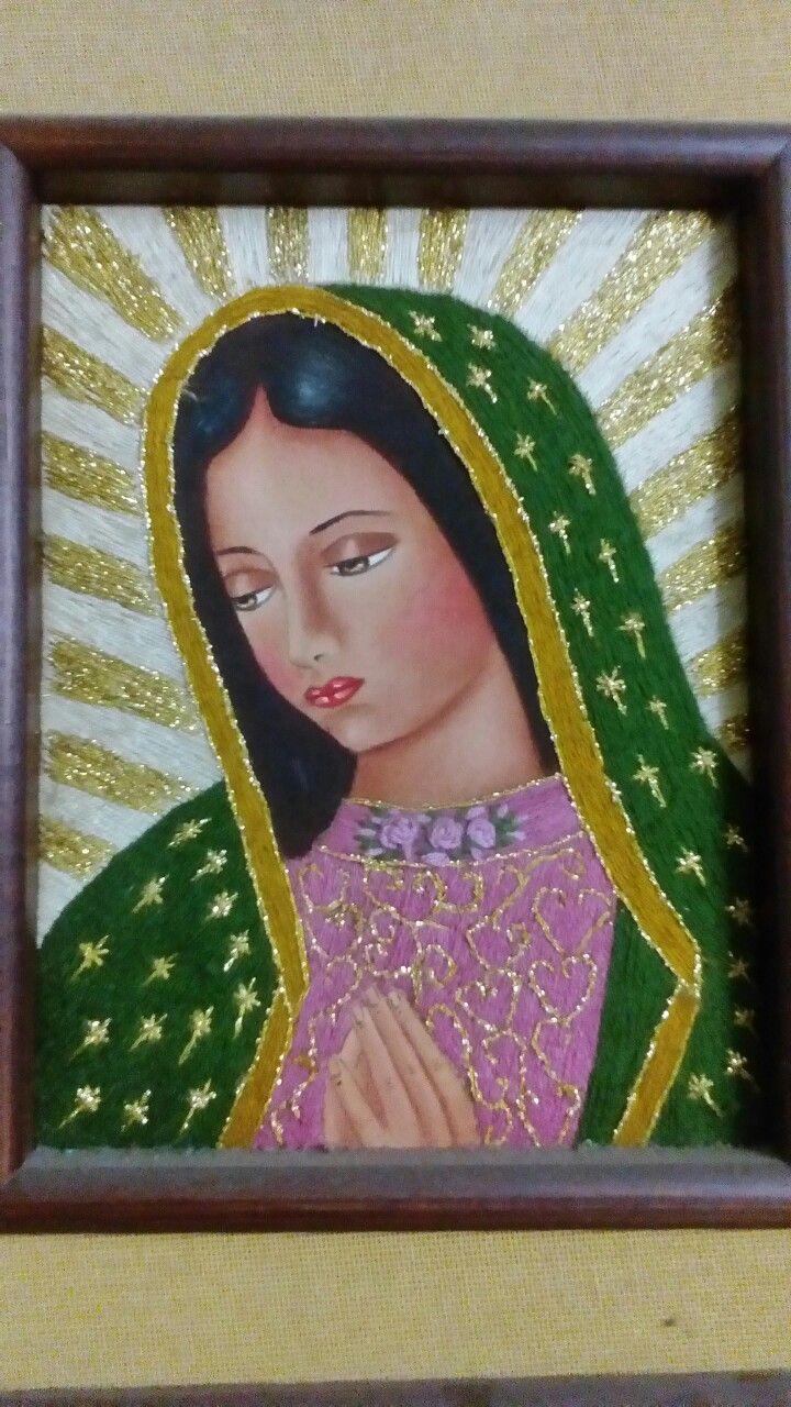 Virgen de Guadalupe, Oleo y lana
