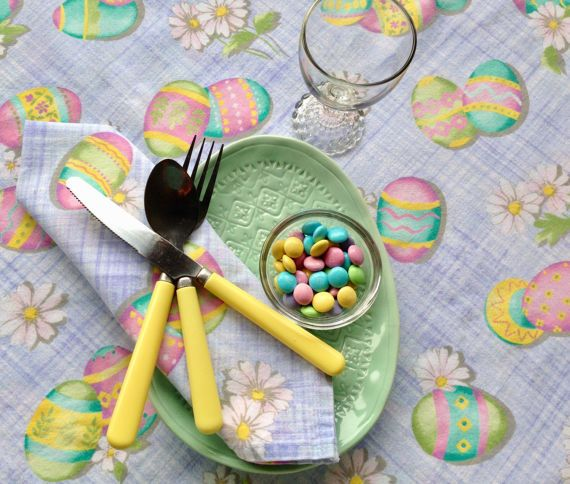 Easter Tablecloth & Napkins  picnic cloth  100% by TablesGoneWild