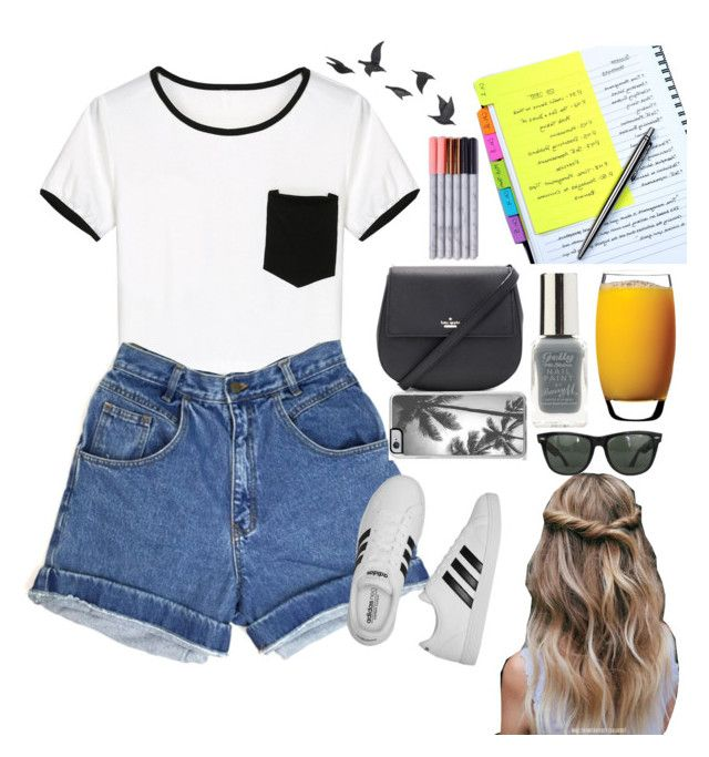 """""""Day 2: finding a temporary job in California"""" by nblankenship ❤ liked on Polyvore featuring WithChic, adidas, Zero Gravity, Lipsy, Kate Spade, Luigi Bormioli, Ray-Ban and Jayson Home"""