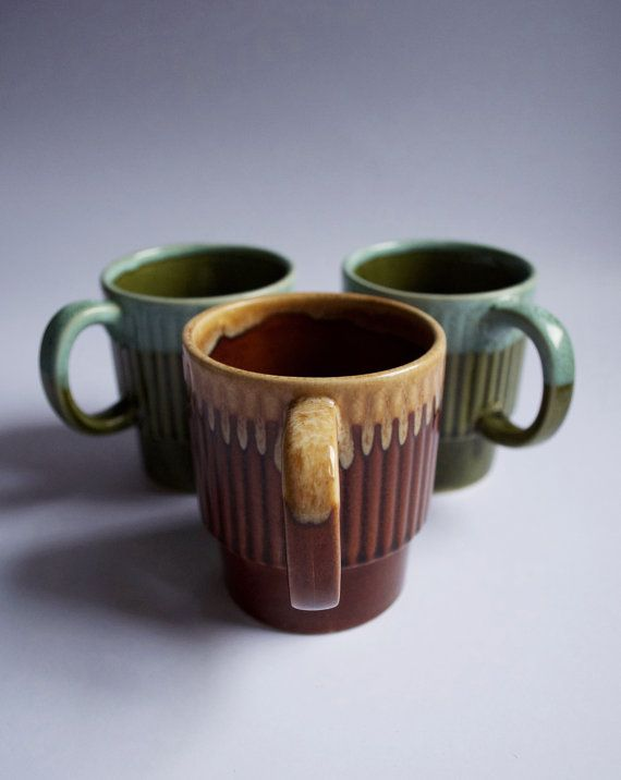 Three Vintage Glazed Dipped Brown and Green by SomethingKitsch