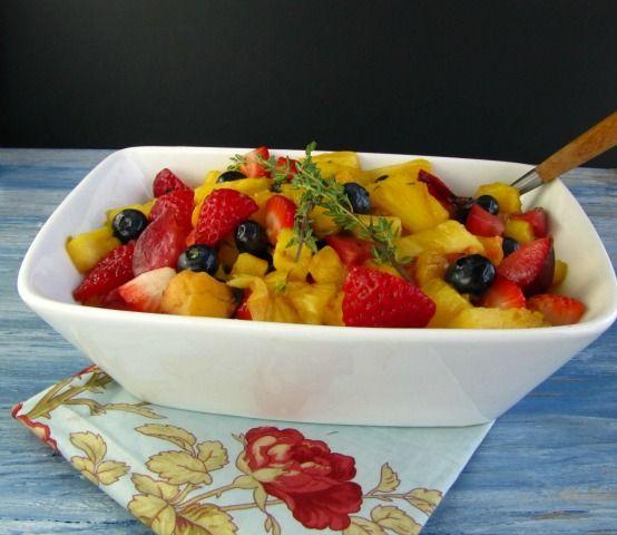 Grilled Fruit Salad with Honey, Orange & Thyme Glaze