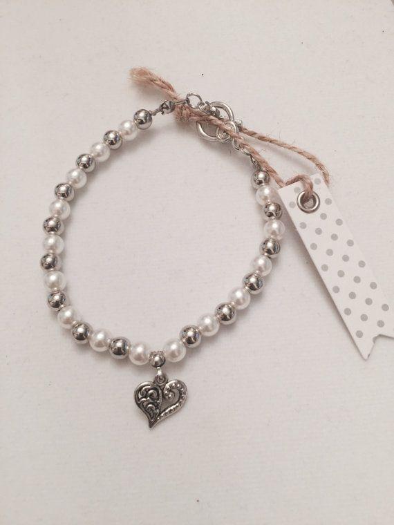 Charm Bracelet Pearly Love by MJCustomDesignCanada on Etsy