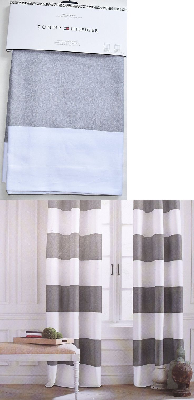Drapery holdbacks window treatment hardware ebay - Curtains Drapes And Valances 45515 Tommy Hilfiger Stripe Light Gray White Curtain Rod Panels Window