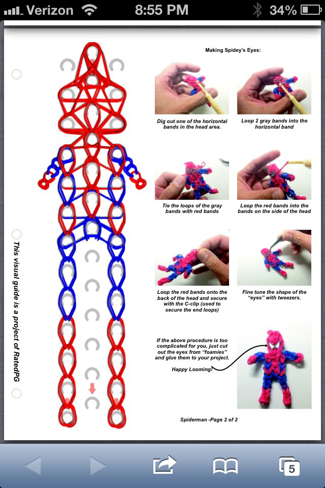 Spiderman part 2 rainbow loom pattern CHARMEL!! I must have this for kenny!!