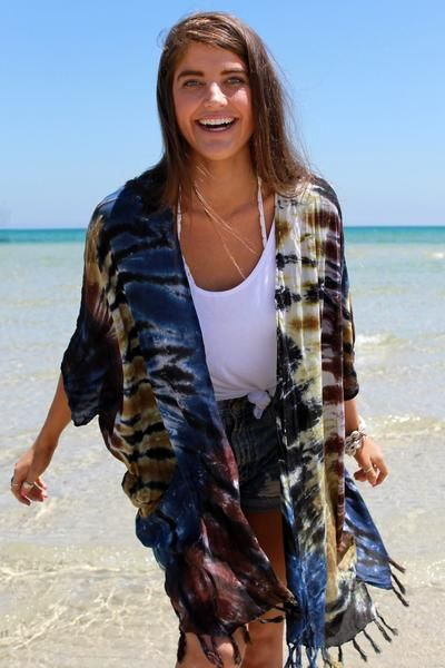 Beautiful, ONE SIZE FITS ALL, CLASSIC KIMONO TIE DYE BERMUDA