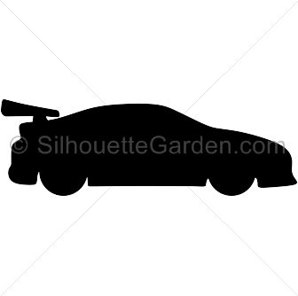 Race car silhouette clip art. Download free versions of the image in EPS, JPG, PDF, PNG, and SVG formats at http://silhouettegarden.com/download/race-car-silhouette/