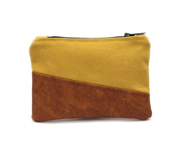 Earthy colors at DaWanda Purses – Mustard Coin Purse, Yellow Zipper Pouch – a unique product by AikoThreads on DaWanda
