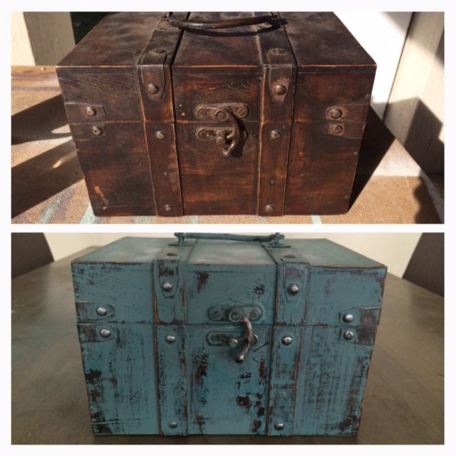 """Milk paint makeover of an old wooden """"treasure box"""". I love refreshing tired old pieces so they seem new again."""