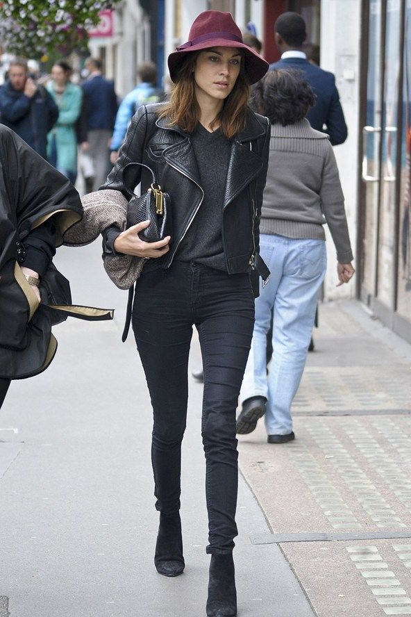 Alexa leaving her hat on in London. #AlexaChung