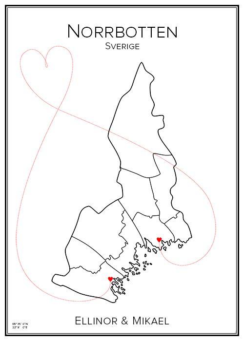 Kärlekskarta. Norrbotten. Sverige. Map. City print. Print. Affisch. Tavla. Tryck. Stadskarta.