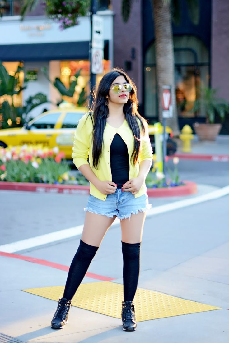 SPRING STYLE | NEON CARDIGAN | HOT SHORTS | OVER THE KNEE SOCKS