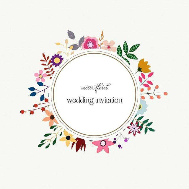 Spring Flower With Green Background Vector 02 Free Download: 2019 ǚ� Elegant Wedding Card With Floral Wreath, Background