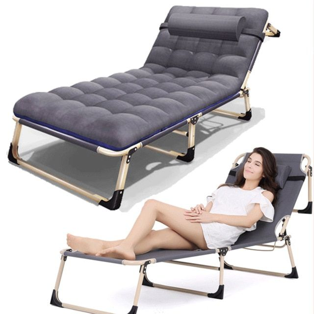 Office Nap Bed Lounge Chair Chaise Bed Adjustable Reclining Positions Folding Cot With Removable Pillow For Camping Pool Beach Review Lounge Chair Chair Chaise