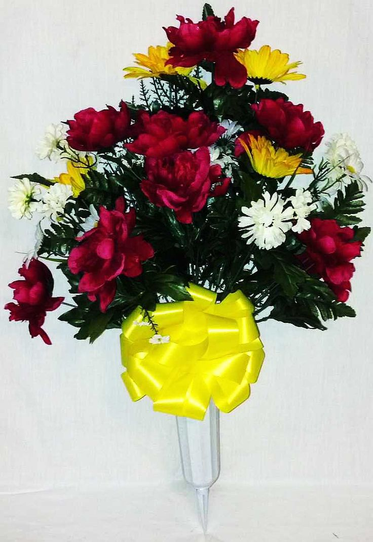 101 best graveyard flowers images on pinterest floral mixed peony cemetery vase with fuchsia and yellow flowers 27 inch reviewsmspy