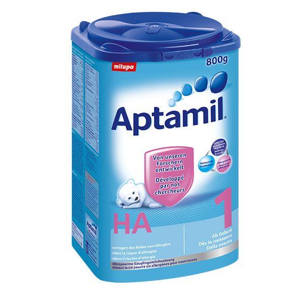 Milupa Aptamil HA1 800gBei einem Allergierisikosollte während den ersten Lebensmonaten eine spezifische hypoallergene Milch benützt werden. Aptamil HA ist auf Basis von hydrolysiertem Eiweiss aufgebaut um Allergierisiken zu vermindern. Aptamil HA1 ist eine leicht verdauliche Anfangsnahrung für allergiegefährdete Säuglinge. Ideal im Anschluss von Aptamil HA Pre.Inhalt: 800gAlter: abGeburtZutaten: Hydrolysiertes Molkenprotein, pflanzliche Öle, Laktose, Galacto-Oligosaccharide…