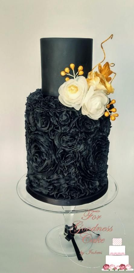 Black Rossette Ruffle cake by For Goodness Cake by Inkeri