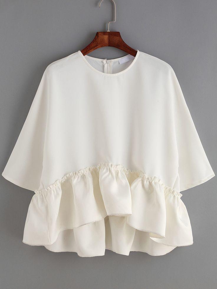 Shop White Round Neck Ruffle Dip Hem Blouse online. SheIn offers White Round…