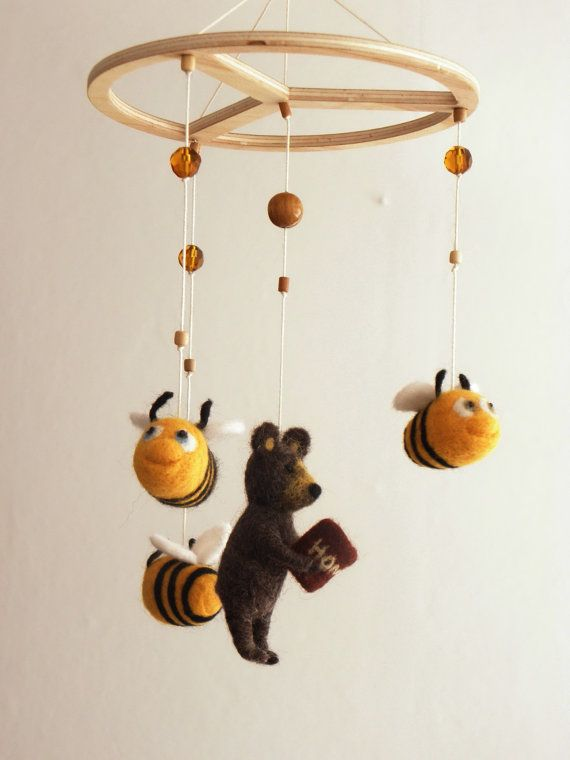 Bear And Bees Mobile For Baby Needlefelted Nursery Decor Kids