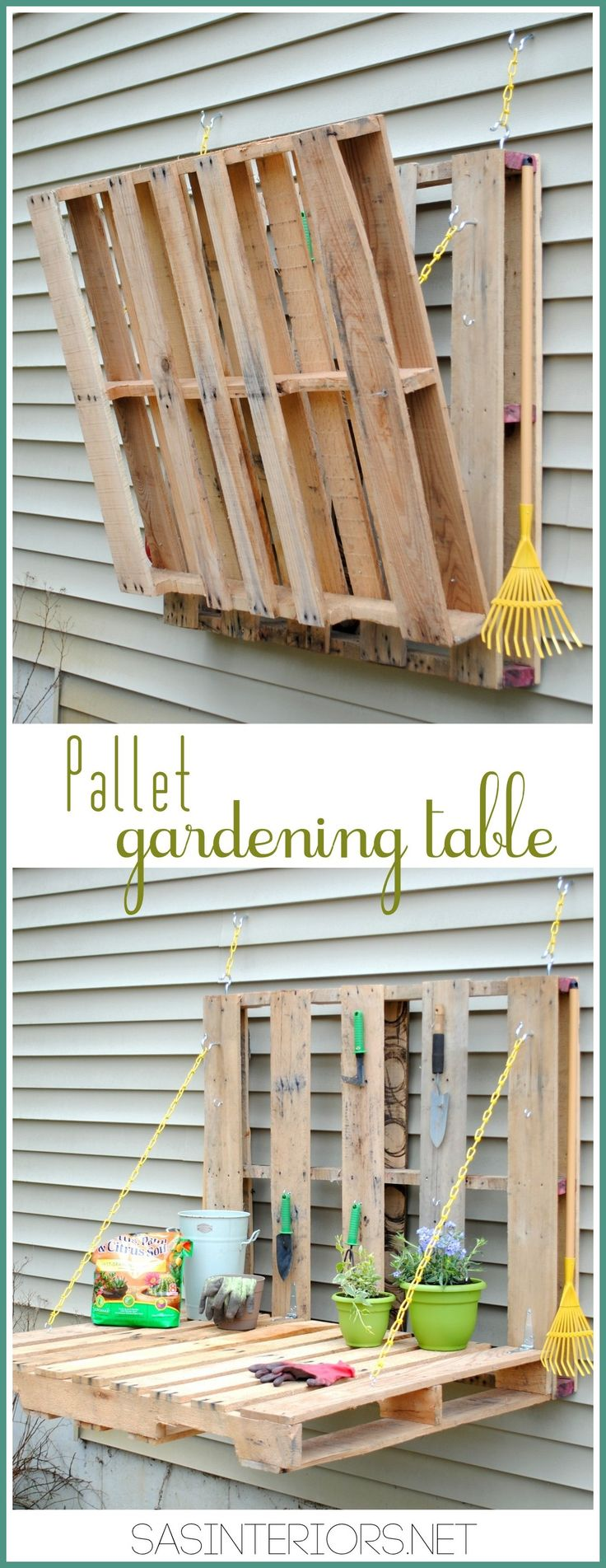 #DIY: Vertical Pallet Gardening Table - No more gardening on the ground with a hurt back.  Create a garden table for less than $10.