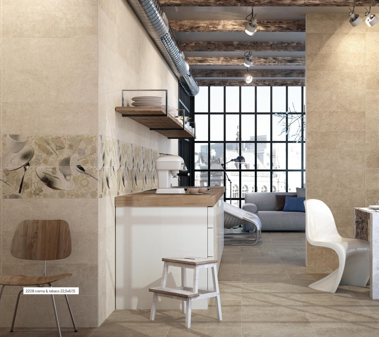 The 2208 series creates elegant and warm rooms thanks to the beauty of stone textures. Give it an industrial style touch with wooden beams and air ducts at sight.  Super chic!!