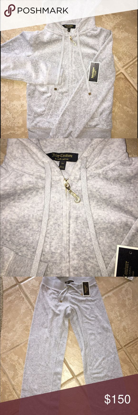 """Juicy Couture Black Label Velour Tracksuit NEVER WORN Juicy Couture Black Label Grey Velour Track Suit with Gold hardware and Rhinestone-Bling """"J"""". Tags were ripped off when I purchased this before trying it on (Oops!) however original tags will be included with purchase. *Price listed is for the jacket and pants as A SET however Jacket and Pants MAY be purchased separately for a LESSER PRICE* Message me for details!!! Juicy Couture Tops Sweatshirts & Hoodies"""