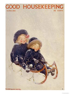 - 1910s Vintage Magazine Art - Good Housekeeping children sledding