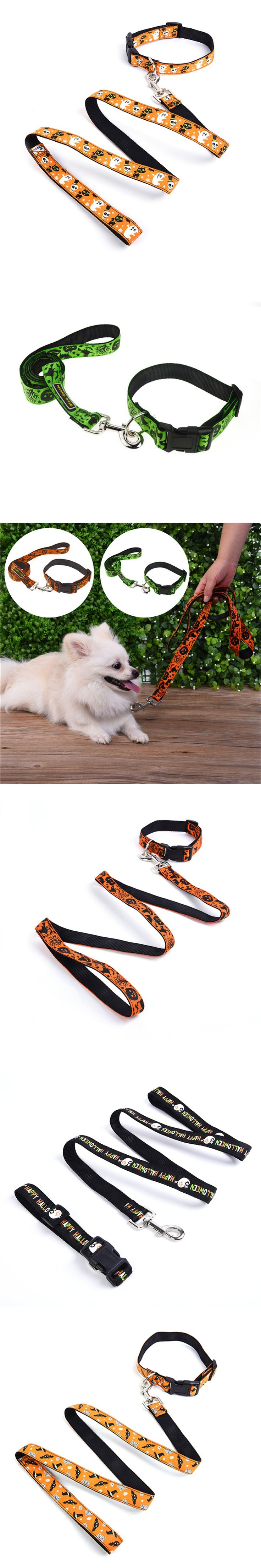 Festival Halloween gift pet Collar Traction Rope Suits for Dogs multi patterns Pet dog Connector belt cat puppy collar leashes