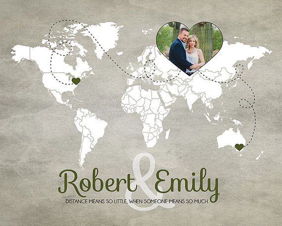 World Map, Long Distance Relationship Gift, Couples Photo on Map - 8x10 Personalized Art Print, Deployment, Christmas Gift, Keepsake