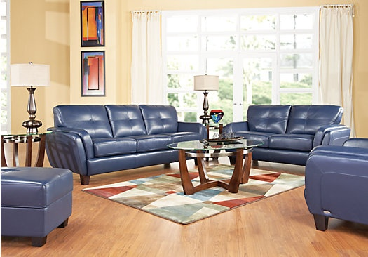 Cindy crawford home san sorrento blue leather 6 pc for Cindy crawford living room furniture