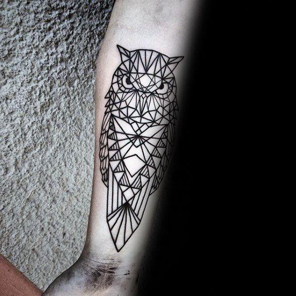 Mens Inner Forearm Black Ink Outline Geometric Owl Tattoo