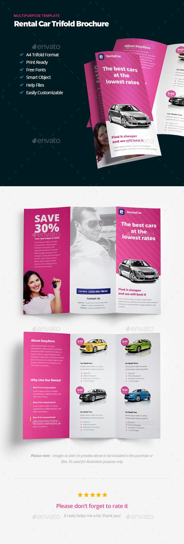 Rental Car Trifold Brochure Template #design Download: http://graphicriver.net/item/rental-car-trifold-brochure/13185523?ref=ksioks