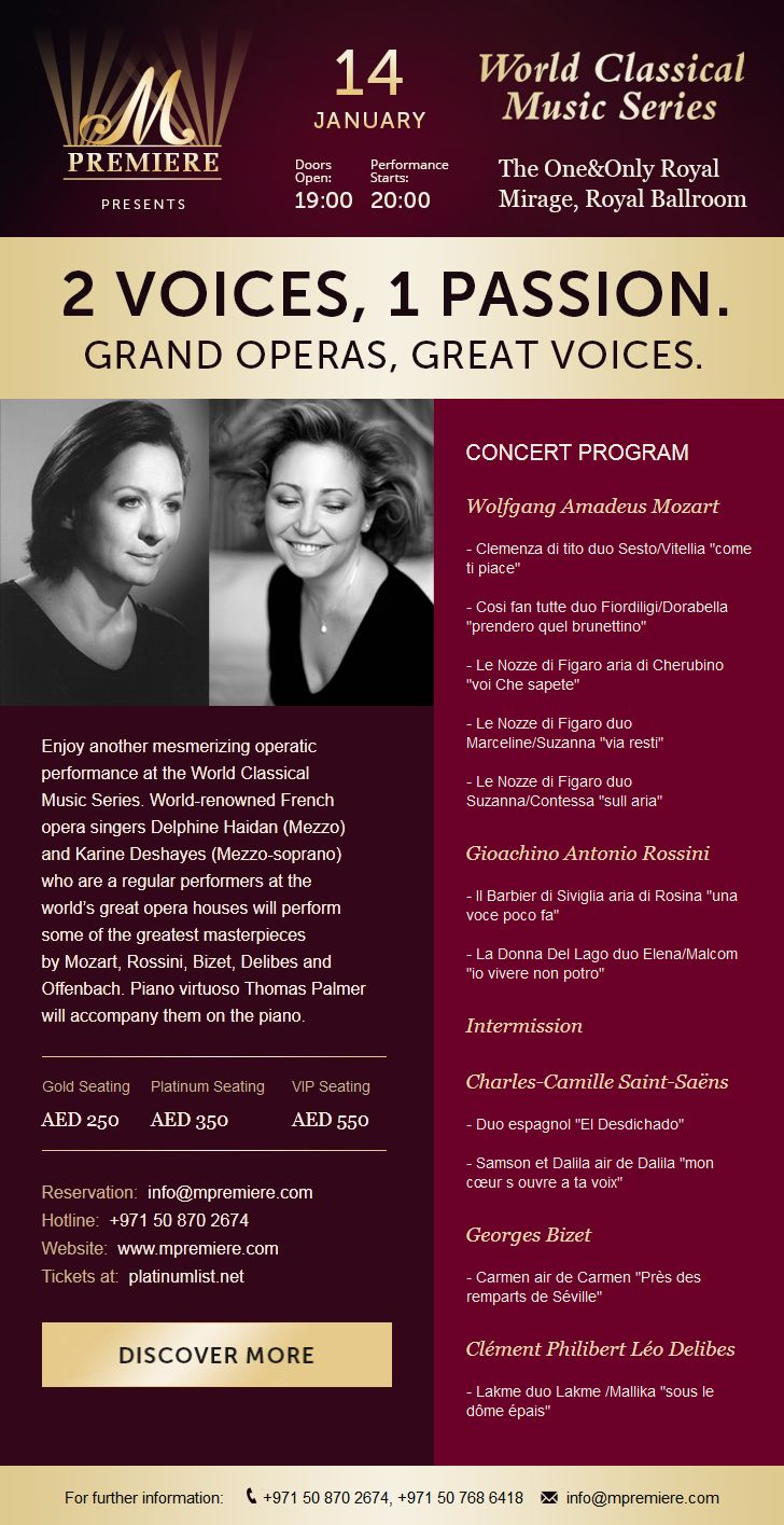 Email letter about a classical opera concert in Dubai.  We did the following stages: - Creation of design, - Layout for all types of devices and email clients. #tokki_team, #tokki_team_portfolio, #webdesign, #email