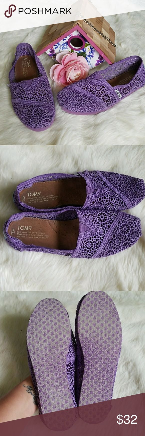 ⚠️Lowball Offer Sale⚠️Purple Crochet Toms Absolutely adorable purple crochet Toms.  Size 7 Women's.  Material is slightly frayed on small section of left shoe as shown in pic 4, otherwise excellent condition! TOMS Shoes Flats & Loafers