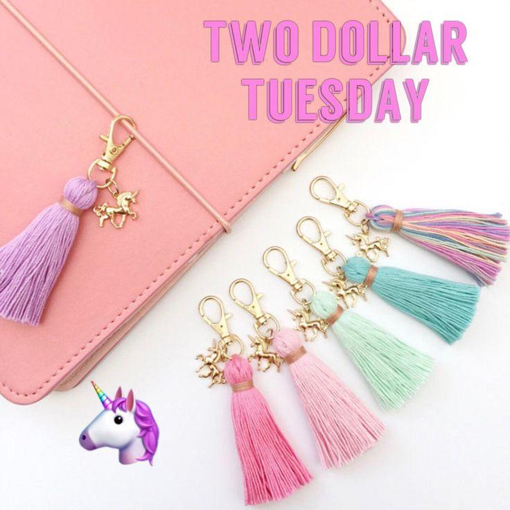 Today's $2 Tuesday is the Unicorn Dreams Charm Tiny Tassel Keychain! Makes a great tiny addition to a traveler's notebook, larger planners, or attach to a zipper pull on a cosmetic or pencil pouch. Choose from six different colors or collect them all!