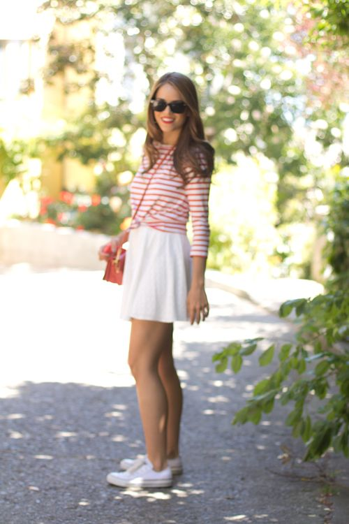 knotted striped shirt over dress w/ converse: Gal Meeting, Flowy Skirts, Meeting Glam, Cute Outfits, Stripes Shirts, Summer Stripes, Knot Stripes, Shirts Skirts, Shirts Over Dresses