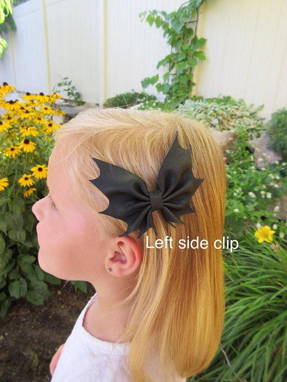 Black leather bat bow baby toddler girl Halloween hair bow