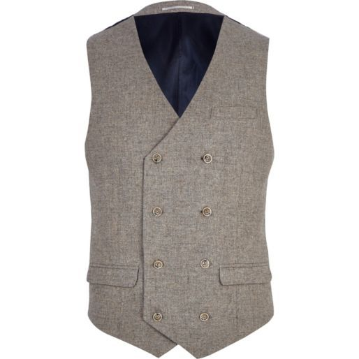 Alex-Light brown double breasted waistcoat
