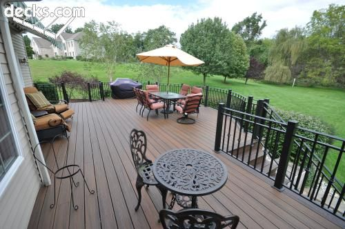 Beige House Brown Deck Black Rails Deck In 2019 Deck