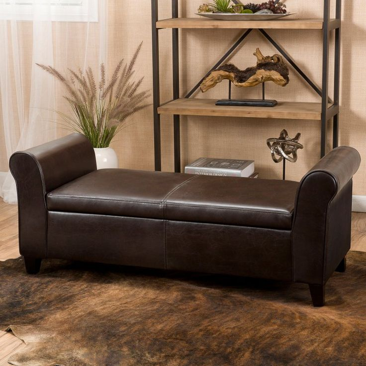 Best Selling Home Martin Faux Leather Bedroom Bench With Storage Brown    296873