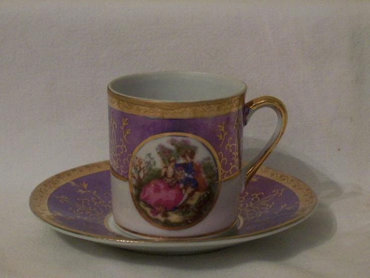 Lefton Demitasse cup & saucer - Purple lustre, gilt, Fragonard panel