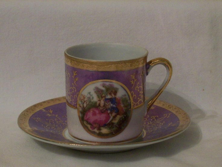 Lefton Demitasse cup & saucer - Purple lustre, gilt, Fragonard panel