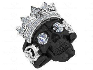 'Castiel Noir' Mens Black & Sterling Silver Skull Ring