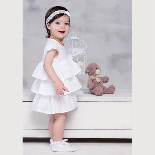 Linen dress for girls babies christening