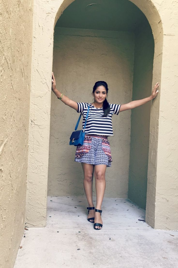 Winter Park, Orlando, FL | F21 Striped Top | Forever 21 Printed Top | Target Printed Shorts | Target Wedge Sandals | Target Shoes | Laxmi Lifestyle | Fashion Blogger | Summer Style | Spring Style | Warm Weather Outfit