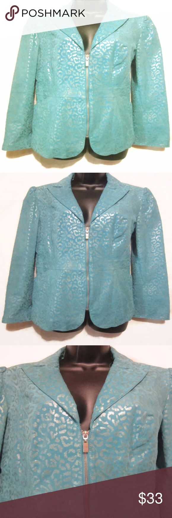 """Pamela McCoy Womens Size S Leather Teal Animal Gorgeous Zip Up Jacket from Pamela McCoy  Silver Animal print with a Subtle Sparkle  Pretty Blue  Full Zip  2 Front Pockets  High Quality Heavy Duty Genuine Suede Leather  Lined   Women's Size Small Measures Armpit to Armpit Zipped 18"""" Length from Shoulder to Hem 26""""  Excellent Pre-Owned Condition  Nice Jacket!!  Smoke Free Environment Pamela McCoy Jackets & Coats Blazers"""