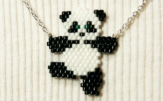 Cute Dancing Panda Necklace Seed Bead Animal Jewelry by BeadCrumbs