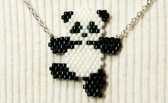 Mignon collier de Panda dansant graine perle animaux par BeadCrumbs